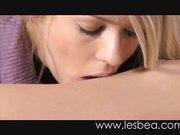 Junge Lesben lecken sich die feuchten Fotzen